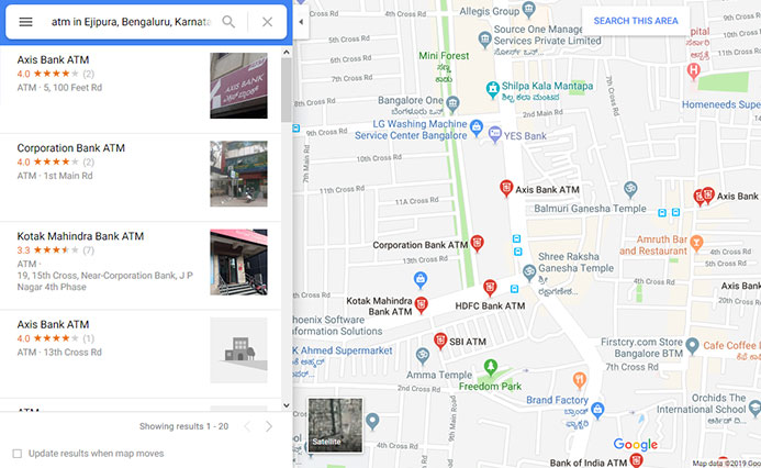 A picture of Google maps listing showing nearby ATMs
